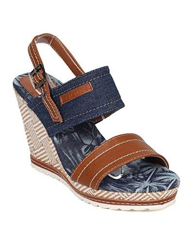 Wedge Heel Slingback Sandals - Nature Breeze Women Platform Wedge Sandal - Slingback Sandal - Basketweave Wedge Heel - GI10 Blue Mix Media (Size: 10)