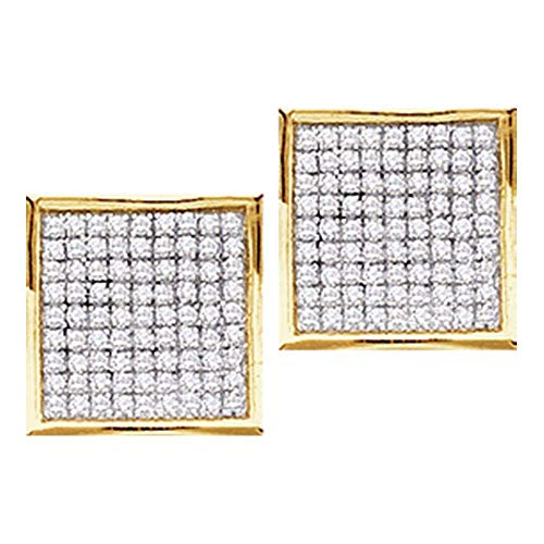The Diamond Deal 10kt Yellow Gold Womens Round Diamond Square Cluster Stud Earrings 1/20 -