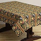 Corona Decor Fruit Design Italian Heavy Weight Tablecloth, 50 by 90-Inch, Black