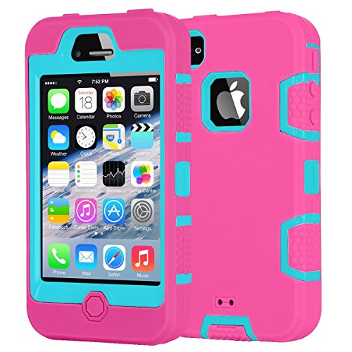 iPhone 4S Case,Shockproof Heavy Duty Combo Hybrid Defender High Impact Body Rugged Hard PC & Silicone Case Protective (Iphone 4s Case Body Armor)