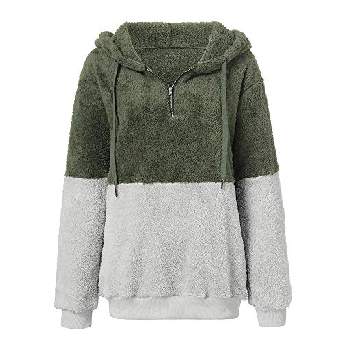 Green Loose Clothes Womens Winter Plush Pullover Hooded Warm Sale Pocket DEELIN Coats Zipper Clearance Shirts Patchwork Sweatshirt Jacket Blouse Ladies Hz5Af