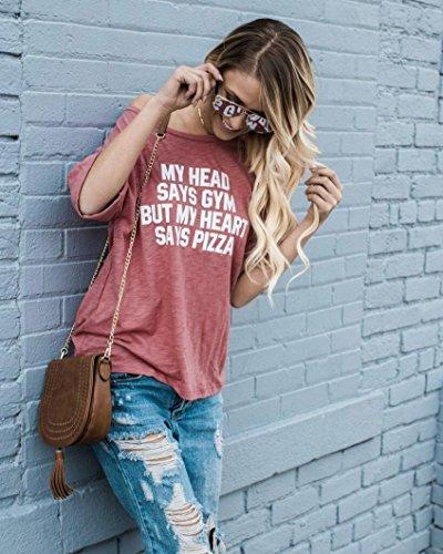 TOPS,Xinan Lettre de chemisier imprimé manches courtes T-shirt