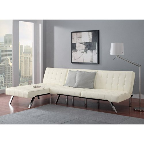Modern Sofa Bed Sleeper Faux Leather Convertible Sofa Set Couch Bed Sleeper Chaise Lounge Furniture Vanilla White by E M I L Y (Image #1)
