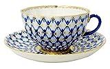 Lomonosov Porcelain Tulip Cobalt Net Tea Cup and Saucer Set 8.45 oz/250 ml