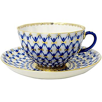 Lomonosov Porcelain Tulip Cobalt Net Tea Cup and Saucer Set 8.45 oz/250 ml