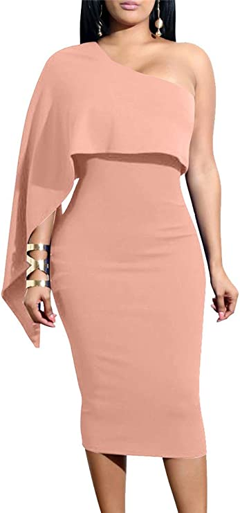 Women's Summer Sexy One Shoulder Ruffle Bodycon Midi Cocktail Dress