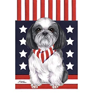 Delightful Shih Tzu Patriotic Breed Garden Flag