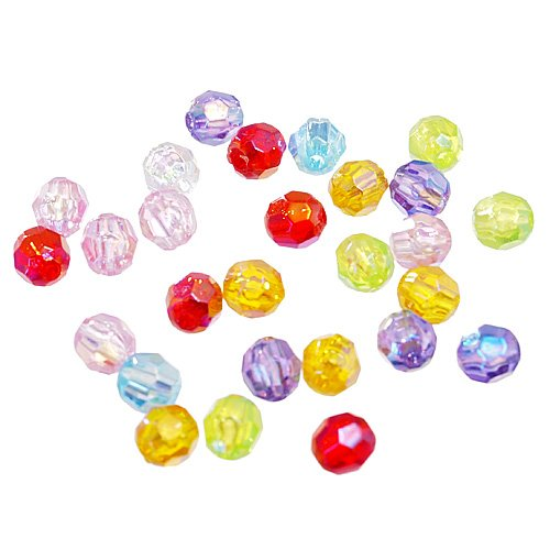 DIY Jewelry Making: 25 pcs of Transparent Acrylic Beads, Faceted Round, Pony Beads, AB Color, Mixed color, about 6mm wide, 6mm long, hole: 1mm