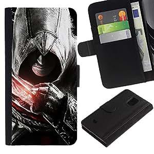 YiPhone /// Tirón de la caja Cartera de cuero con ranuras para tarjetas - Asesinos Puño - Samsung Galaxy S5 Mini, SM-G800