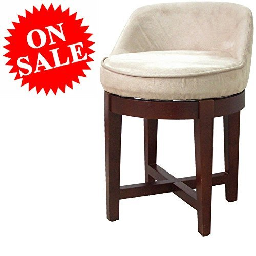 (Round Vanity Chair Wooden Cherry Frame Faux-Suede Beige Upholstery Padded Tufted Swiveling Modern Make Up Small Bathroom Vanity Chair eBook by Easy&FunDeals)