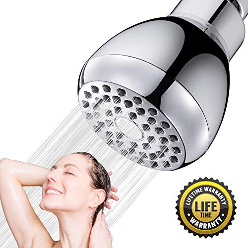 High Pressure Shower Head 3-inch Fixed Showerhead Powerful Rain Spray Anti-clog Anti-leak Water saving Chrome Showerhead Adjustable Metal Swivel (Showerhead)