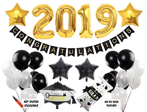 2019 Graduation Party Decorations | Pack of 34 Pcs Party Supplies | Party Banner, Latex and Foil Balloons | Black Gold and White Graduation Backdrop -