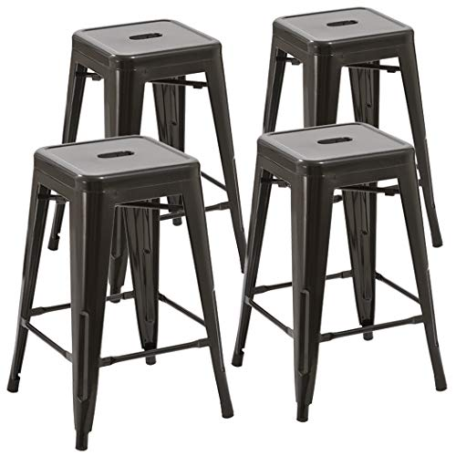 Duhome 4 pcs 24″ Metal Chairs Tolix Style Stackable Dining Stools Indoor Outdoor Restaurant Cafe Industrial Design (Black)