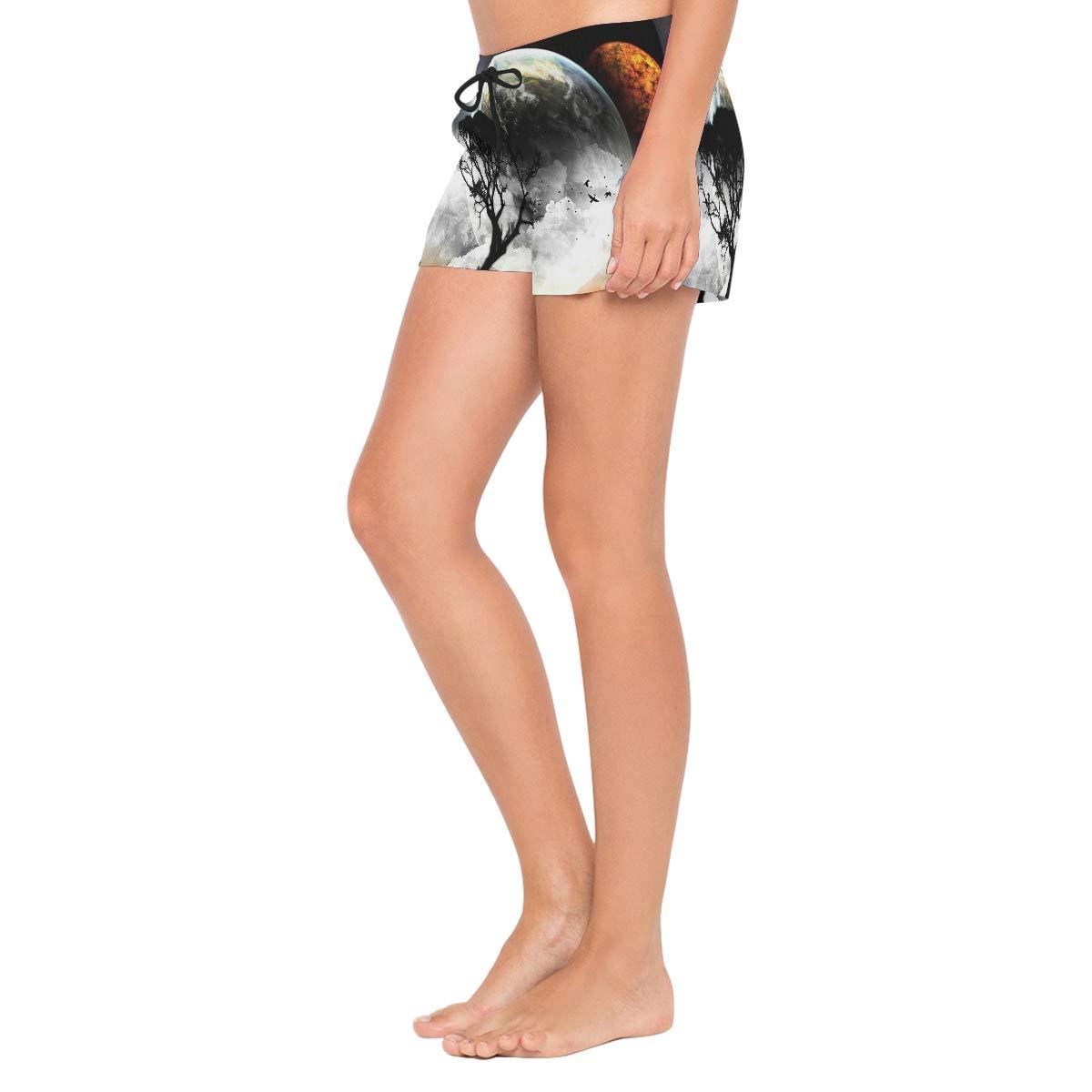 Lttedeng Womens Fashion Summer Planet View Beach Shorts Casual Short Pants