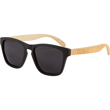 29bf71cf5b Wood Sunglasses - SHINER Hybrid Bamboo Wooden Sunglasses with Polarized  Black Lens (Bamboo