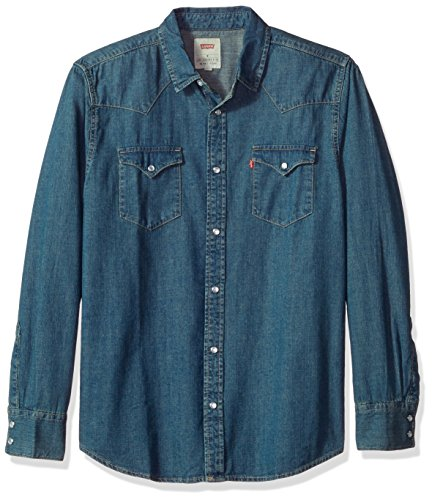 Levi's Men's Standard Barstow Denim Western Snap-Up Shirt, Authentic Stonewash with Tint, ()