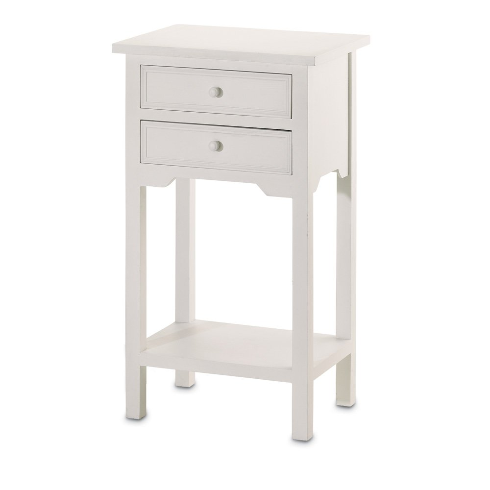 White side table - Amazon Com Set Of 2 Wood White End Tables Nightstands With Two Drawers Kitchen Dining