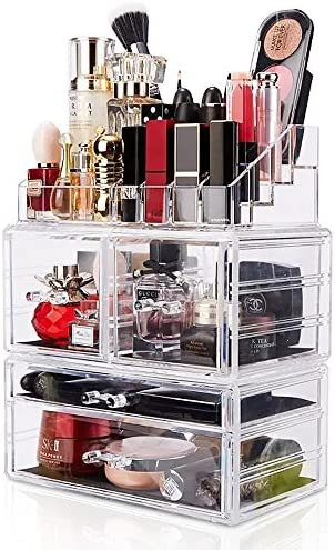 Makeup Organizer 3 Pieces Acrylic Cosmetic Storage Large Drawers and Jewelry Display Box