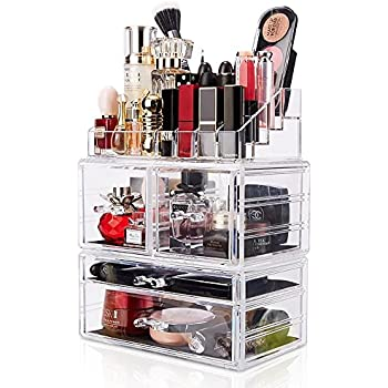 DreamGenius Makeup Organizer 3 Pieces Acrylic Cosmetic Storage Drawers and Jewelry Display Box