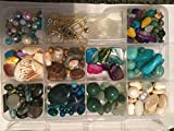 3/4 Pound of Gemstones Beads Jewelry Making (Mixed Variety ) Chips and AB Rondelle Crystal Kit Size 4mm-12 MM over 500 Pieces Findings, Included, Plastic Case