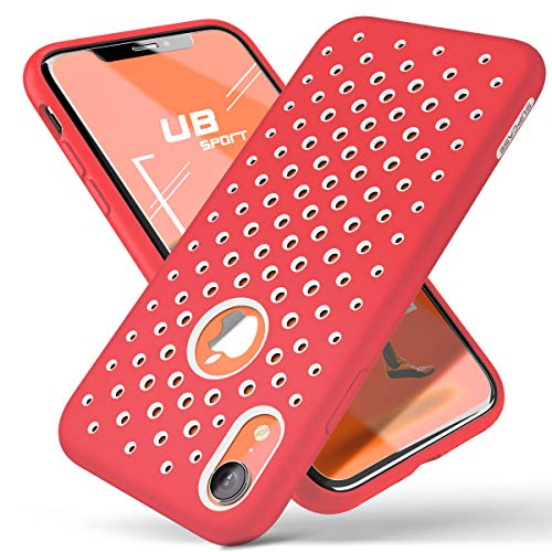 (SUPCASE Unicorn Beetle Sport Series Designed for iPhone XR Case 2018 Release Liquid Silicone Rubber PC Premium Hybrid Case [Hole Pattern] with Heat Dissipation (White/Red))