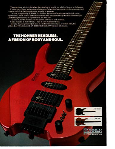 """Magazine Print ad 1990 Hohner Headless Jack Guitar and Jack Bass,""""When you get down to it.the Floyd Rose Sustainer is all you really need"""""""