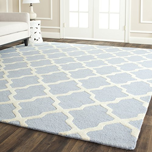 8sq Light Blue Color - Safavieh Cambridge Collection CAM121A Handmade Moroccan Geometric Light Blue and Ivory Premium Wool Square Area Rug (8' Square)