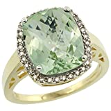 10K Yellow Gold Diamond Genuine Green Amethyst Ring Cushion-cut 12x10mm size 8