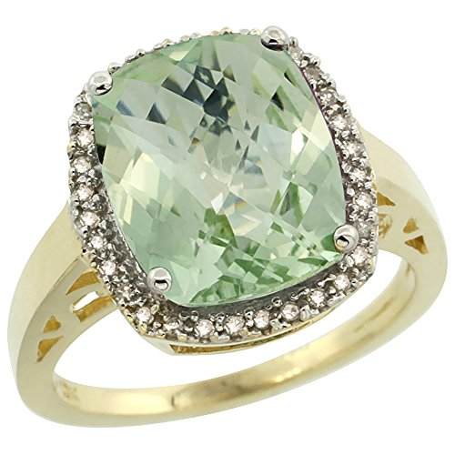 10K Yellow Gold Diamond Genuine Green Amethyst Ring Cushion-cut 12x10mm size 8 by Silver City Jewelry
