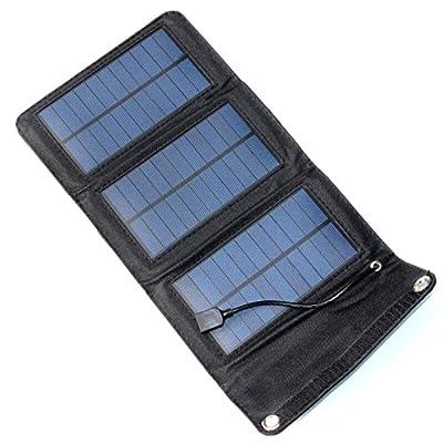 NUZAMAS Portable Solar Panel Charger Foldable 5W 5.5V USB Recharge Smart Phone Iphone Powerbank Battery