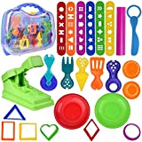 FUN LITTLE TOYS Kids Clay Dough Toddler Tool Playset & Play Kitchen Food Creation Cooking Set,Play Rolling Pin- 36 PCs (Clay Included)