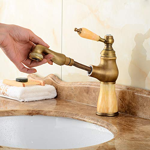 C redOOY Faucet Taps Antique Copper Telescopic Stretchable Faucet Wash Basin Pull-Type Hot And Cold gold Faucet Bathroom, Orb Marble Pull