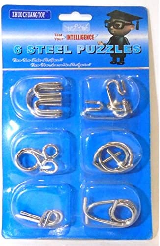 R.S.Magic Tricks Stainless Steel Metallic Intellectual IQ Test Mind Game Toy Puzzle Set (Silver) - Pack of 6