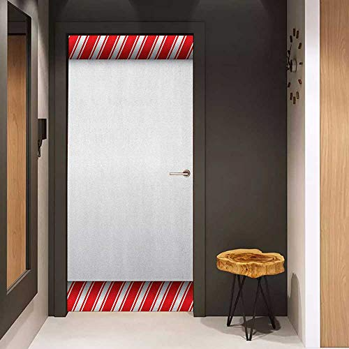 - Onefzc Wood Door Sticker Candy Cane Horizontal Borders Frame with Red and White Sweetie Pattern in Abstract Style Easy-to-Clean, Durable W38.5 x H79 Red White