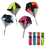 DOULINE Parachute Toy Tangle Free Throwing Toy Parachute Men,Hand Throw Square Outdoor Children's Flying Toys,4PCS