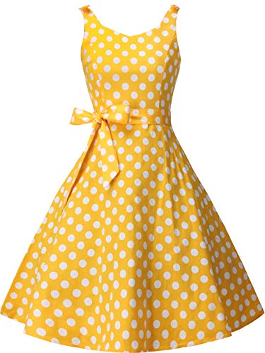 (FAIRY COUPLE Women's 1950's Bowknot Vintage Retro Polka Dot Rockabilly Party Swing Dress XL Yellow White dots)