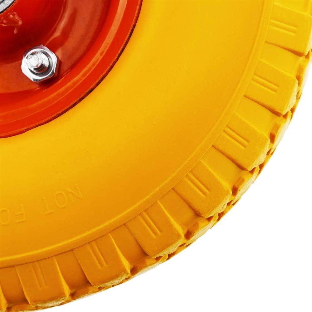 Roue de brouette Solide Jaune 100 Kg 10x3 254x76 mm pour charettes Chariots et Plates-Formes de Transport PrimeMatik