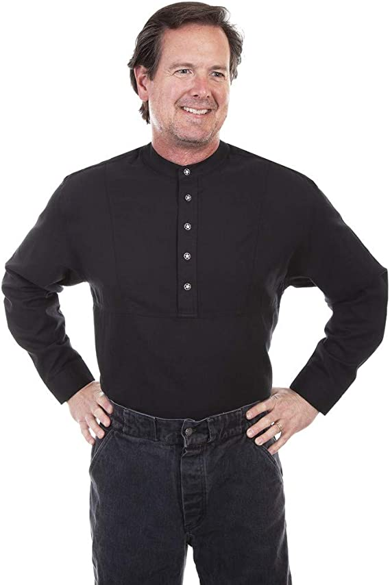 Steampunk Men's Shirts Scully Western Shirt Mens Pull Over L/S Button Front F0_RW031 $58.75 AT vintagedancer.com