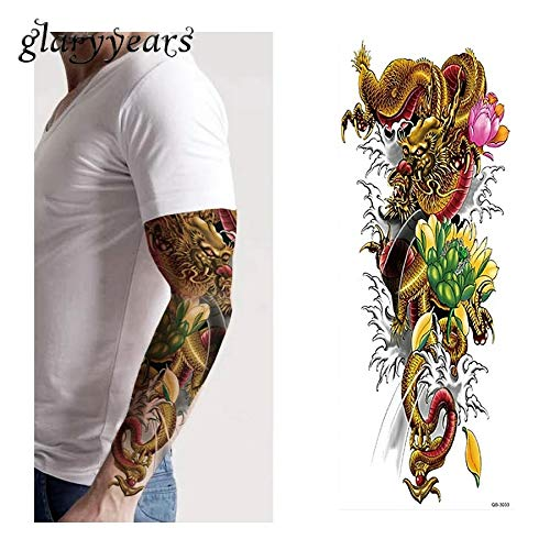 FULL SLEEVE 6 x 17 Ancient Asian samurai Dragon tribal TEMPORARY TATTOO scar cover up stretch mark cover body make up Hawaiian islands FAKE TATTOO cover up 3d body sticker -