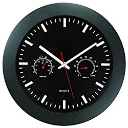 Timekeeper 12 Wall Clock with Black Frame and Temperature/Humidity Gauges, Black/Silver/Red
