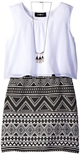 Amy Byer Girls' Big Sleeveless Popover with Print Skirt, Pat N/Black/Ivory, 7