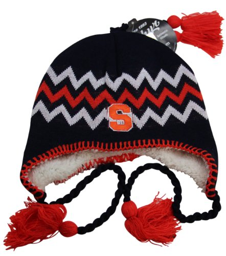 NCAA Zephyr Syracuse Orange Fully Lined Knit Beanie Hat with Ear Flaps