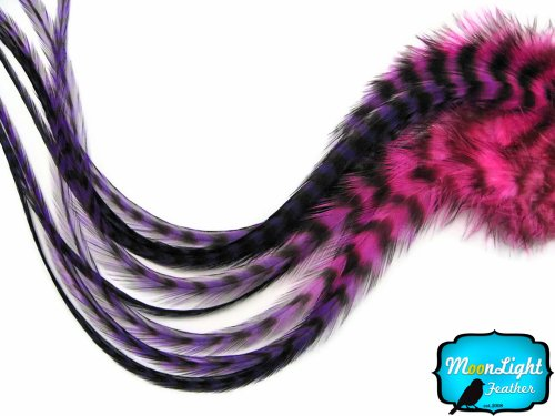 Price comparison product image Moonlight Feather, Hair Extension Feathers - Pinkle Blendz Thick Long Rooster Hair Extension Feathers - 4 Pieces