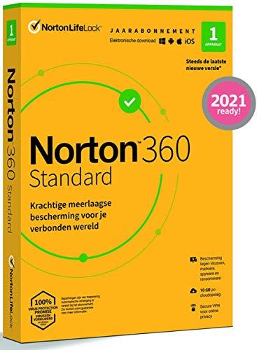 Norton 360 Standard 2021, antivirussoftware, internetbeveiliging, 1 Apparaat, 1 Jaar, Secure VPN en Password Manager, PC…