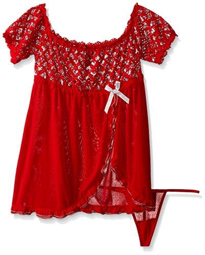 Dreamgirl Lipstick - Dreamgirl Women's Metallic Heart Lace Babydoll, Lipstick Red, One Size
