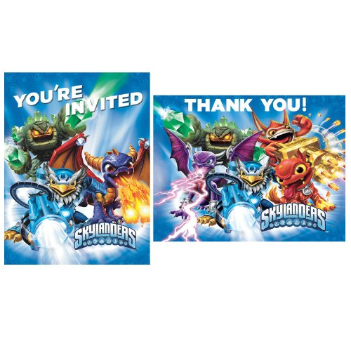 Skylanders Invite Thank You Note Cards (8 each) Invitations Birthday Party