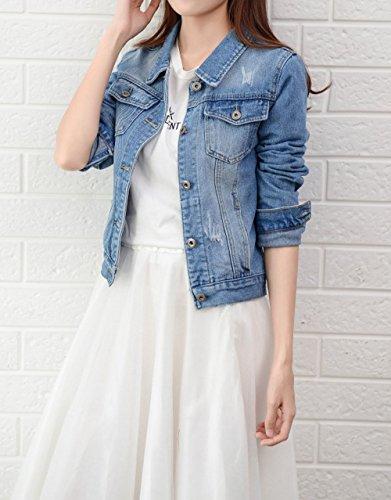Donna Primavera Sottile Giacca Cappotti Cime Jacket Manica E Autunno Outerwear Giacche Outwear Tops Di Denim Azzurro1 Corto Moda Coat Lunga Jeans qEwEr46zx