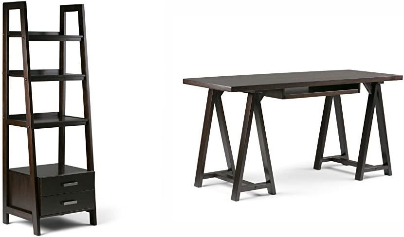 Simpli Home Sawhorse Ladder Shelf Bookcase with Storage, Dark Chestnut Brown + Simpli Home Sawhorse Desk, Dark Chestnut Brown :Bundle
