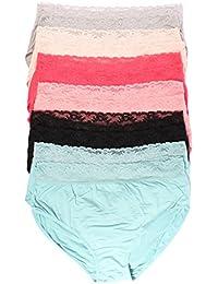 Youmita 12 Pack Plus Size Super Soft, Lace Band and Lace Edge Hi-waist