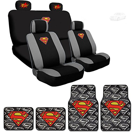 Ultimate Superman Car Seat Covers New Design Carpet Floor Mats Set Bundled with Classic POW Logo Headrest Covers (Superman Seat Covers For Cars compare prices)